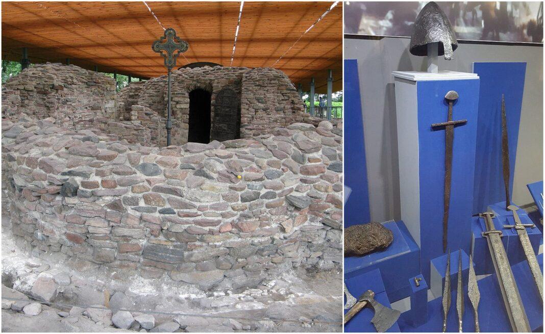 Ostrów Lednicki ruiny palatium i zabytki