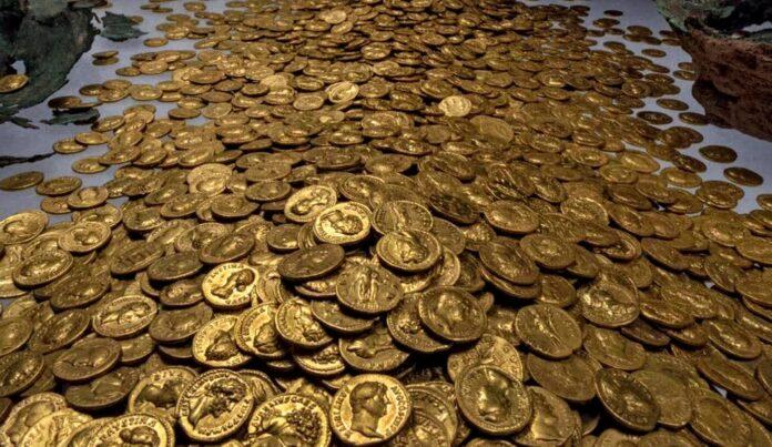 skarb złotych rzymskich monet
