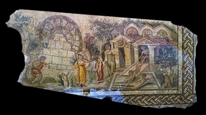 rzymska mozaika koło wodne