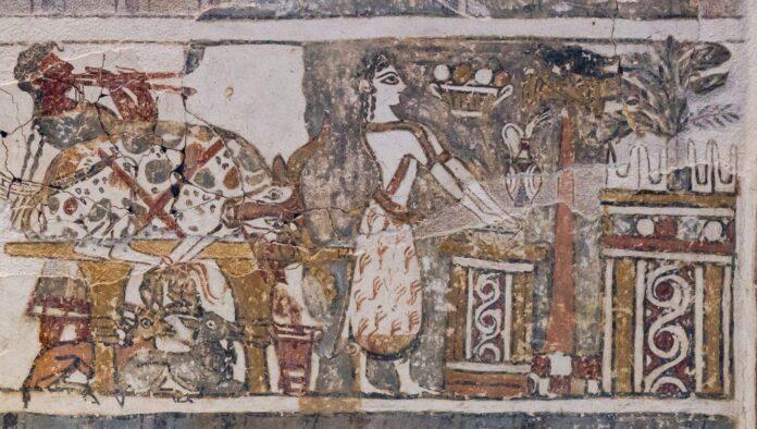 Greckie freski z sarkofagiem Hagia Triada