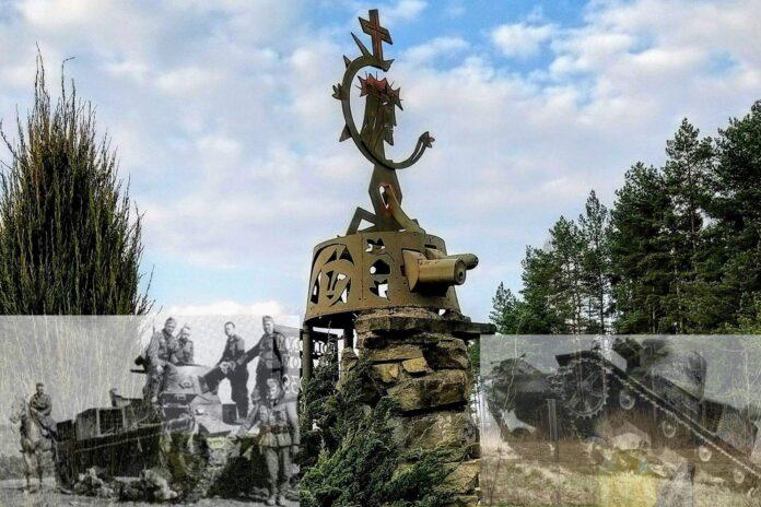 Pomnik z wieży czołgu Vickers typ E w Kasinie Wielkiej